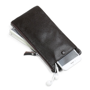 Image 1 - JINBAOLAI Genuine Leather Wallet with Cell Phone Bag Ultra thin Long Zipper Wallet for Men Slim Clutch Purse for Male