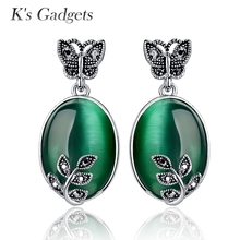 K s Gadgets Green Opal Earrings Silver Color Jewelry Natural Stone Stud Earrings Zircon Butterfly Big