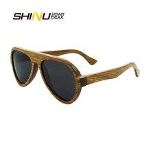 Man Wood Sunglasses Retro Vintage Polarized Driving Eyewear Pilot Goggle Gafas De Sol Hombre 6068