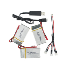 3pcs/lot 2S With 1split3 cable and USB charger 7.4V 1500Mah 25C JST plug Lipo Battery For WLtoys V913 L959 L202 Toy battery RC