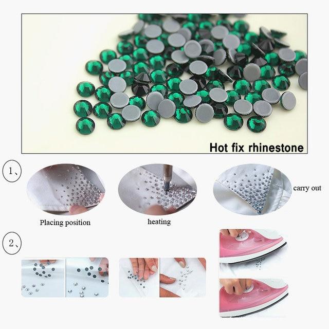 QIAO Jet hématite Hot Fix strass cristal verre fer sur strass pour vêtements décoration de mariage SS16 SS20 SS30