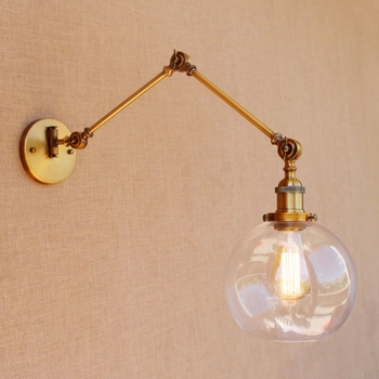 LukLoy Wall Light, E27 Retro Industrial Vintage Adjustable Wall Lamp, Metal Vintage Lighting Fixtures for Home Office Decoration