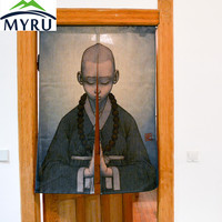 MYRU Zen curtain short door curtain summer Chinese Japanese small monk  curtain  bedroom curtain