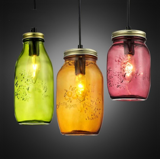Color Creative Glass Bottle Droplight LED Pendant Light Fixtures For Dining Room Bar Hanging Lamp Home Lighting Lustres De Sala iwhd loft style creative retro wheels droplight edison industrial vintage pendant light fixtures iron led hanging lamp lighting