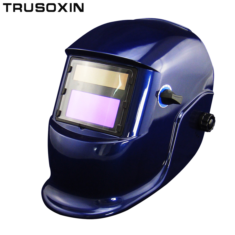 Battery+Solar auto darkening welding helmet/weld mask for the MIG MAG TIG CT TSC KR welding machine and CUT plasma cutter din7 din12 shading area solar auto darkening welding helmet protection face mask welder cap for zx7 tig mig welding machine