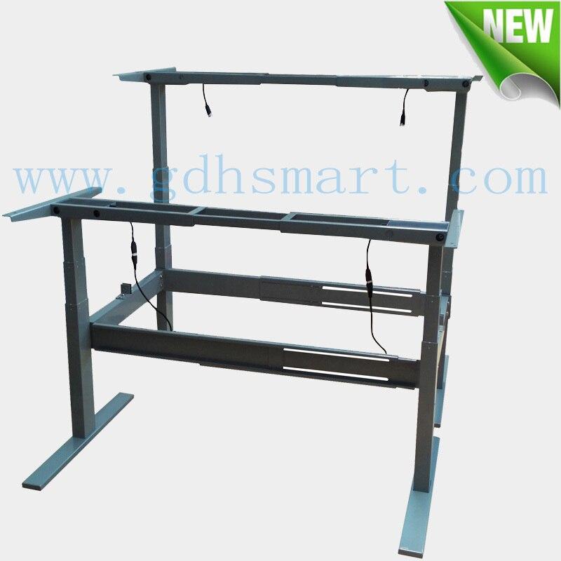 Electric height adjustable desk frame & Silver standing computer ...