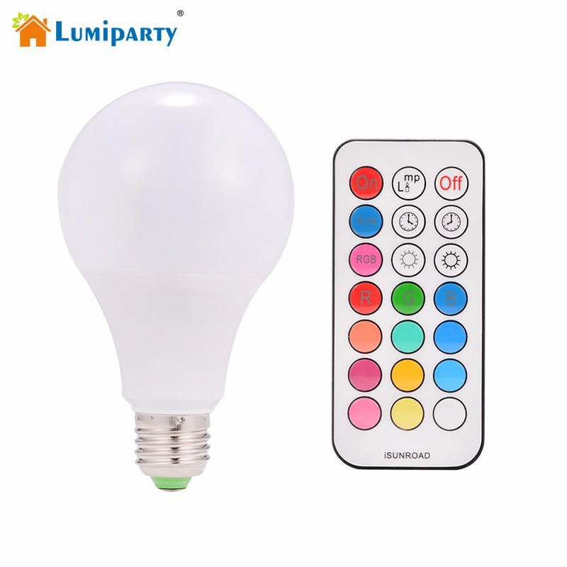 Lumiparty Dimmer 10W E27 RGBW LED Bulb Timing Function AC85~265V Dimmable LED Lamp with Remote Controller