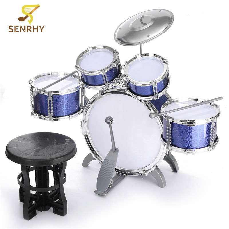 купить SENRHY Blue Children Kid Musical Instrument Drum Set Kit With Stool Sticks Cymbal Gift Percussion Instruments Present for Kids недорого