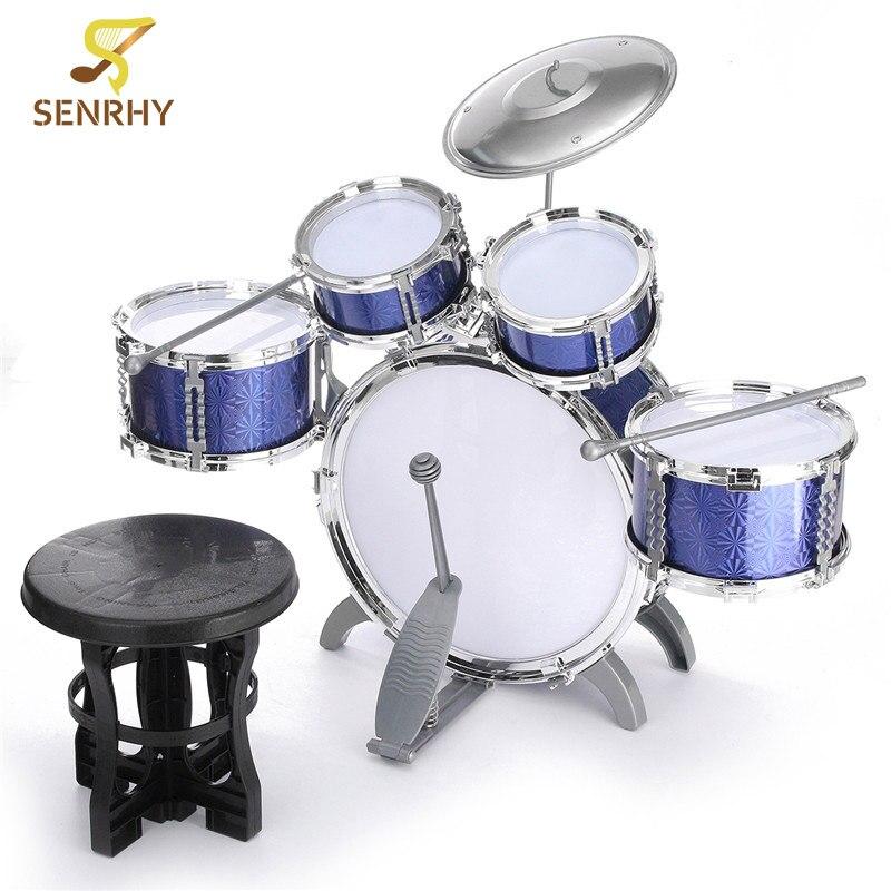 SENRHY bleu enfants enfant Instrument de musique batterie ensemble Kit avec tabouret bâtons cymbale cadeau Percussion Instruments présents pour les enfants