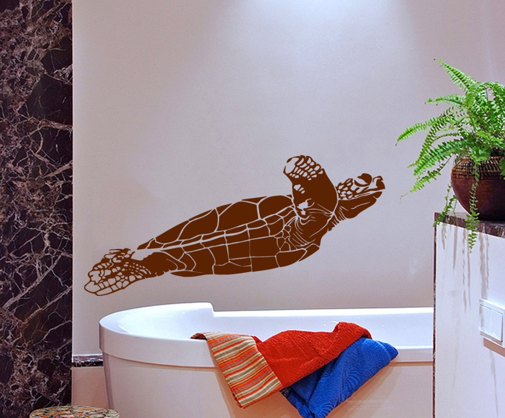 Swimming Sea Turtle Pattern Wall Sticker Home Bathroom Special Decorative Vinyl Wall Decals Ocean Style Wall