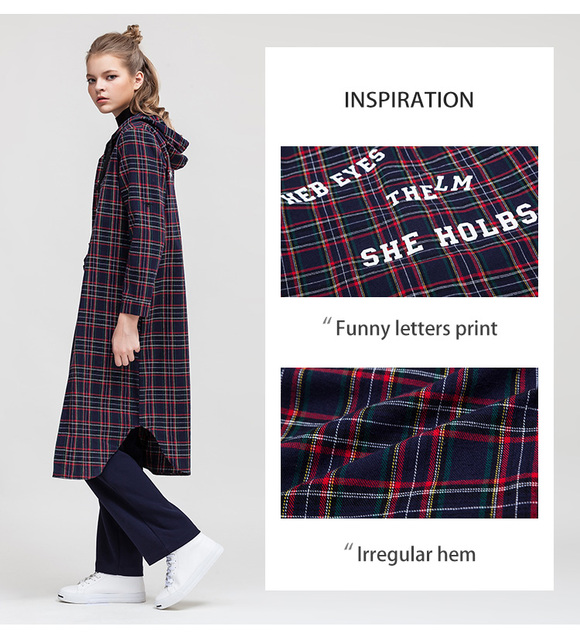 Letters Print Plaid Hoodie Medium Knee Length Irregular Women Blouses Casual Shirts