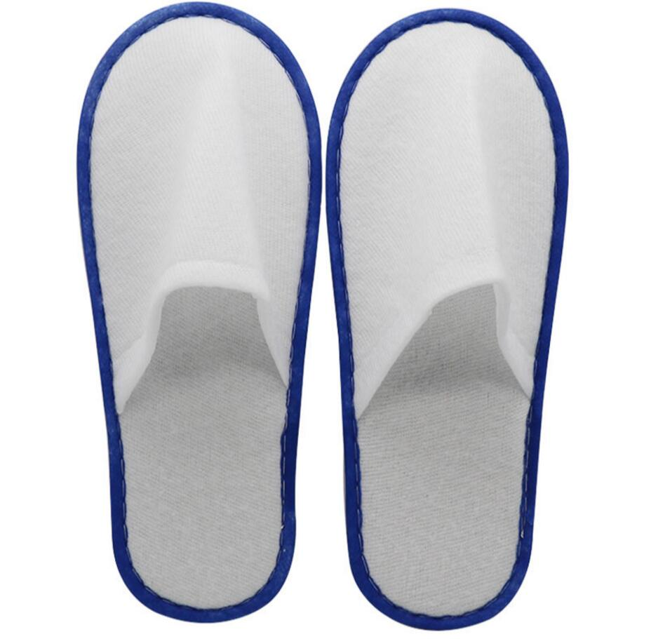 100 pairs/lot White Towelling Hotel Disposable Slippers Terry Spa Guest Shoes blue yellow blue green home Slippers