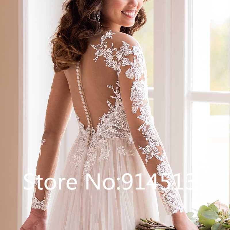 Image 3 - Wedding Dress With Long Sleeves 2019 Vestido de noiva Vintage Lace Top Tulle Skirt Button Bridal Dresses Sweep Train-in Wedding Dresses from Weddings & Events