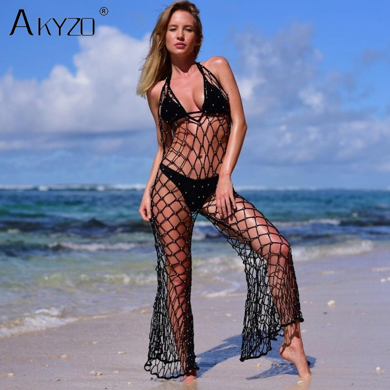 AKYZO 2018 Summer Crochet Beads beach tank   Jumpsuit   Women Sexy Deep V Neck Fishnet Rompers Hollow Out Casual backless Playsuit