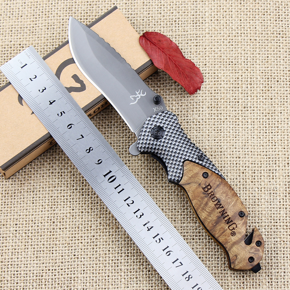Browning X50 Outdoors Folding Knife Steel Blade Wood Handle Tactical Pocket Survival Knives Huntting Fishing EDC