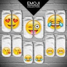 % 3D Emoji QQ Meia Moda Feminina Único Lado de Impressão Dos Homens Meias de algodão Unisex Engraçado Baixa Meias Padrão Meias Meias Feminina