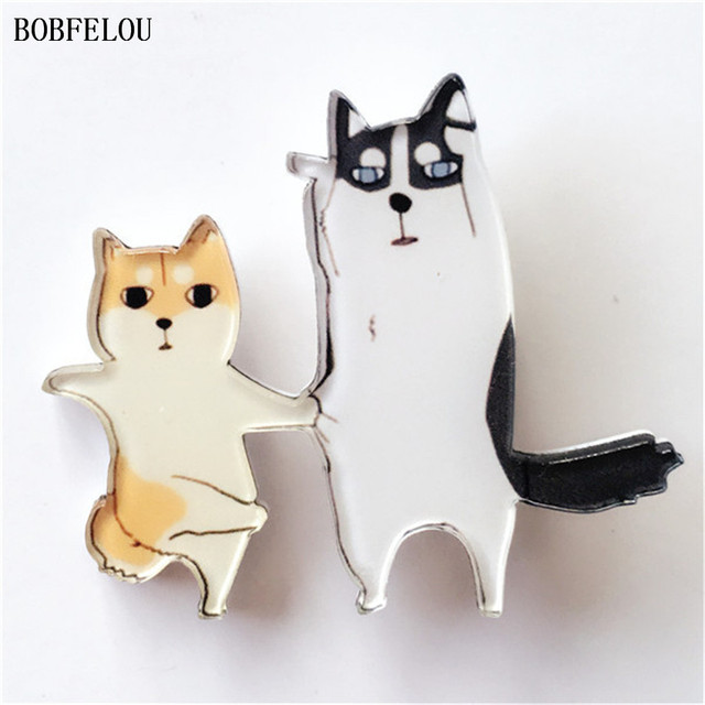 BOBFELOU Acrylic Walk the cat cartoon design Badge novelfor Fashion for Jewelry handbags clothing accessories Brooches