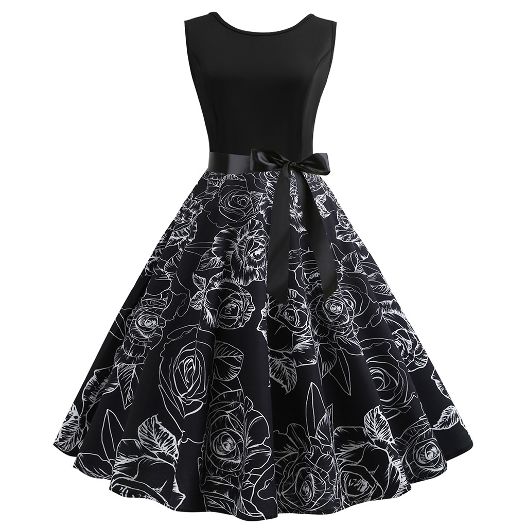 New Dress Women Vintage Bodycon Sleeveless O Neck Printing Party Swing Dress vestidos femininos
