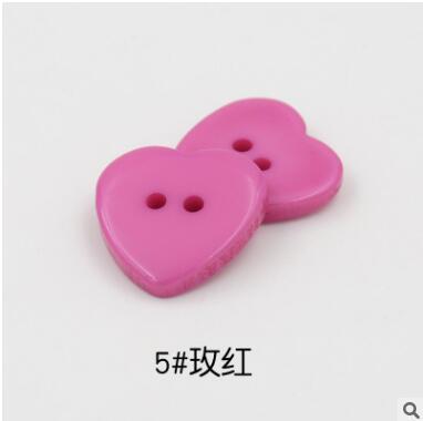 Красивые 1 лот = 100 шт полимерные кнопки в форме сердца 2 отверстия пластиковые кнопки Швейные аксессуары для одежды DIY для детской одежды кнопка мешок - Цвет: 5-rose