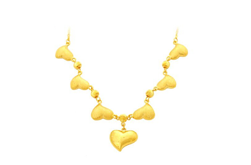Luxuriant Pur 24 K or Jaune Coeur Collier chaîne Lourde or 15.71g
