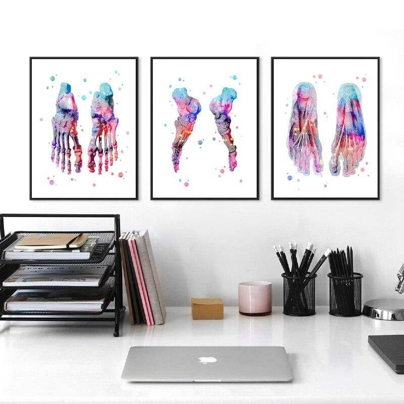 Набор для рисования ног, набор для рисования скелета, акварель, холст, плакат, живопись ног, кости, анатомия, медицина, настенная печать, деко...