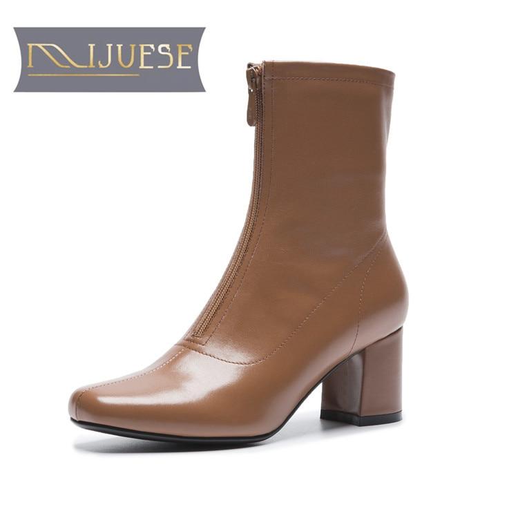MLJUESE 2019 mujeres tobillo botas de cuero de vaca cremalleras color camel  otoño riding boots tacones e5d7c7cba70a