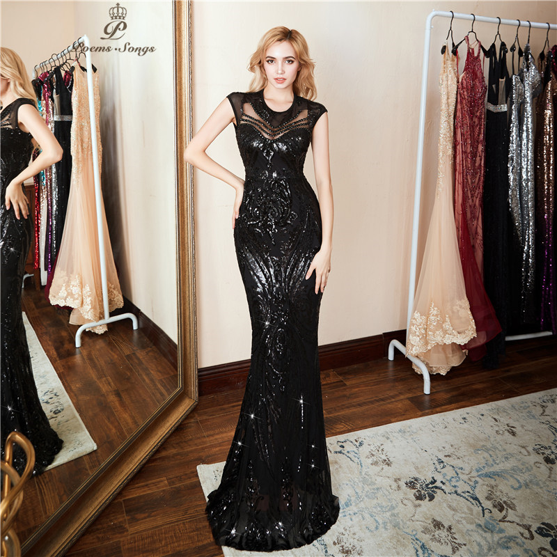 Poemssongs 2019 New Elegant Long black Sequin Dress vestido de festa robe sexy longue Formal Party