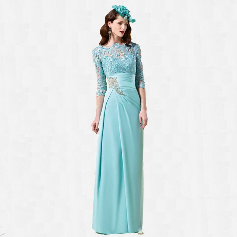 3/4 Sleeve Lace Mother Of The Bride Dress Green Chiffon Ladies Formal Dresses Max Floor Length ...