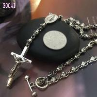S925 sterling silver stylish personality skull cross necklace fashion man's pendant