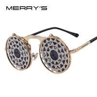 Merry's пара панк готический Винтаж раскладушка солнцезащитные очки для женщин Личность раскладные очки Металл Панк Защита от солнца очки