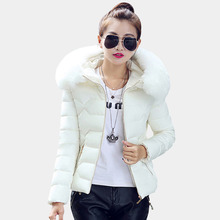 2016 New Fashion Female Jacket Winter Thickened Warm Down Coats With Hoods Big Fur Collar Short Parkas Jackets For Women