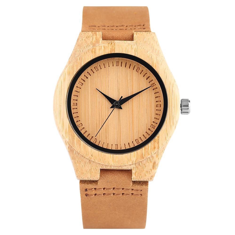 Kadın Ahşap İzle Unisex Basit Bambu Saatler Sıcak Satış Doğa - Kadın Saatler - Fotoğraf 1