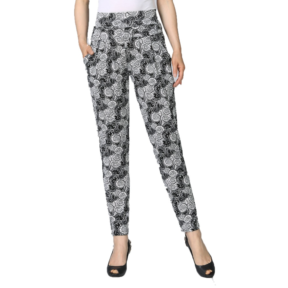 Chinese Style Woman Casual Harem Pants Floral Pattern Print Basic Trousers For Women High Waist Elastic Band Design Bottoms 2019