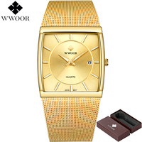 New WWOOR Brand Luxury Men Square Waterproof Gold Watch Men S Quartz Sports Watches Male Stainless