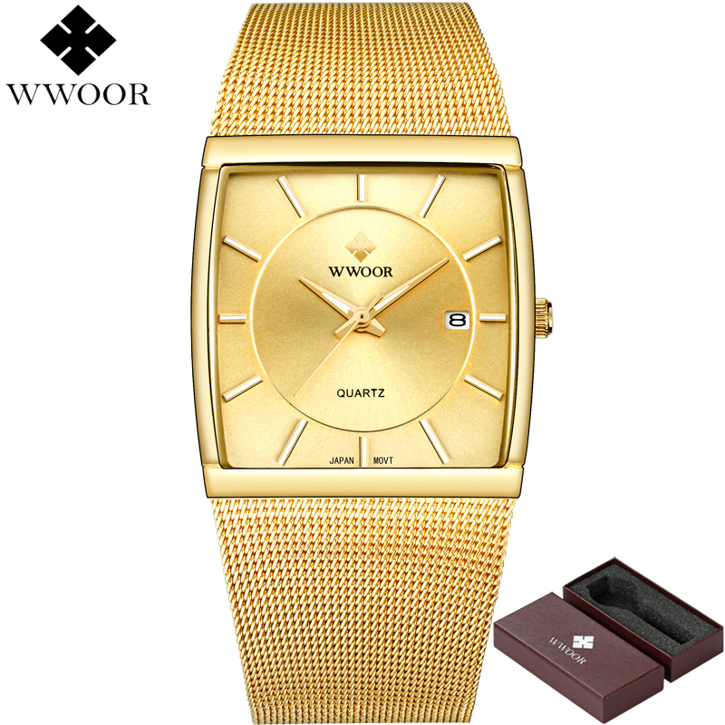 WWOOR Watch Men Quartz Waterproof Square Clock Mens Watches Brand Luxury Stainless Steel Gold Male Wrist Watch relogio masculino ochstin luxury lover s watches waterproof luxury brand stainless steel quartz watch relogio masculino clock gold male wristwatch