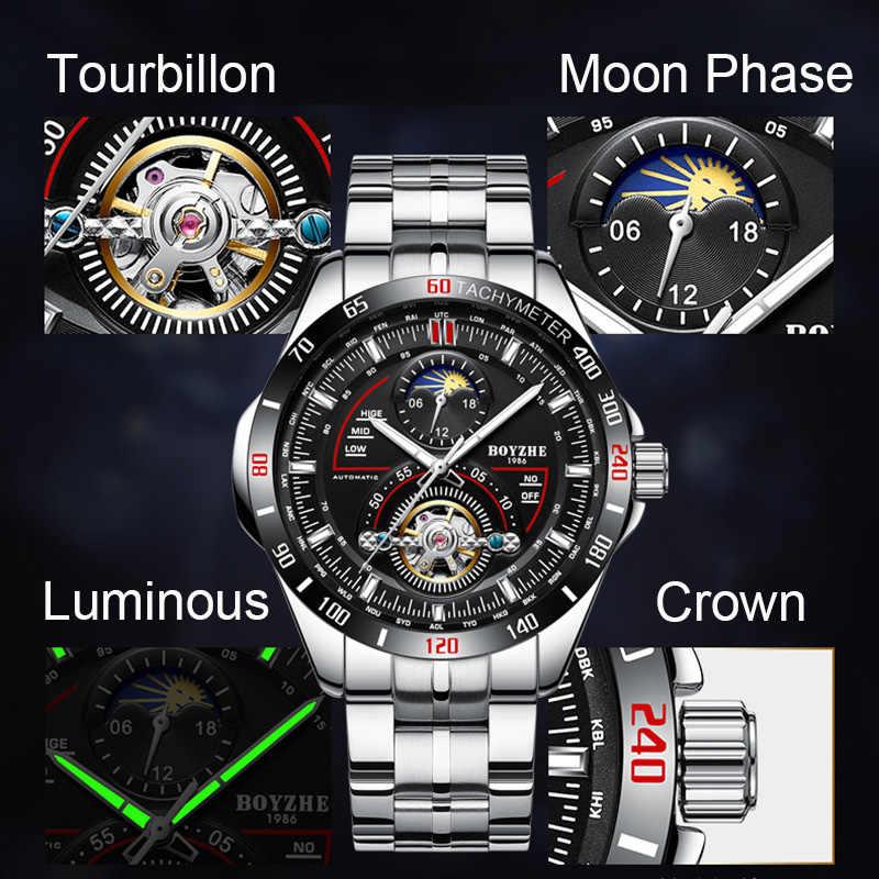 dea959bbc421 ... BOYZHE mecánico automático para hombres de moda marca relojes  Tourbillon Luna fase reloj de acero inoxidable ...