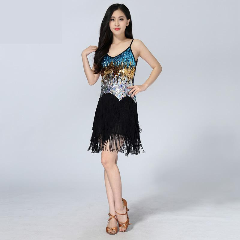 2019 Autumn Women/girls/lady Sexy Sling Tassel Sequin Latin Dance Dress Fringe Latin Salsa/ballroom/tango/dance Costumes 6 Color