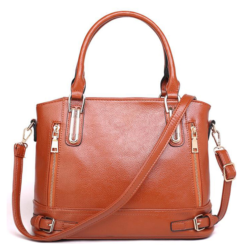 купить New Classic Design Zipper Genuine Leather Women Handbags Shoulder Bags High Quality Women Bags недорого