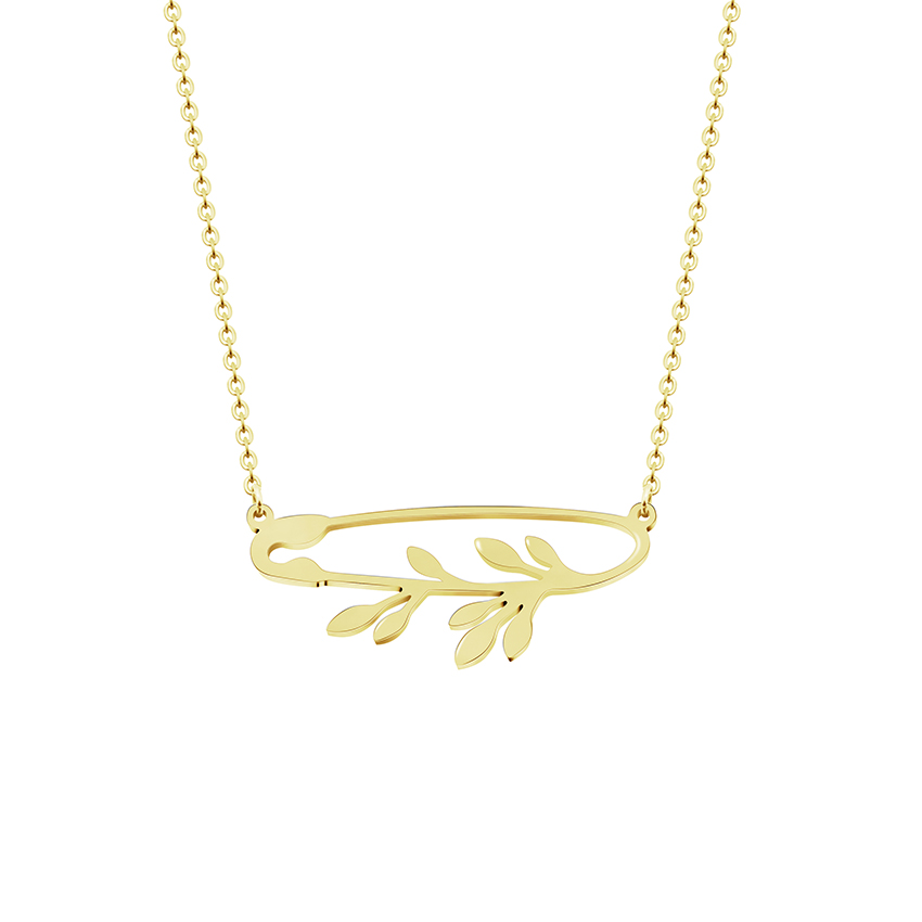Creativity Ethnic Jewelry Safety Pin Colar Gargantilha Gold Leaves Branch Pendant Necklace Women Stainless Steel Chain Necklace