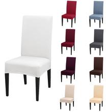 Jednokolorowe pokrowce na krzesła ze spandeksu Stretch jadalnia pokrowiec na siedzisko elastyczne krzesło ochronne na bankiet weselny w restauracji tanie tanio Housmife Spandex Chair Covers Plain Dyed Modern Arm Chair Wedding Chair Hotel Chair Beach Chair Banquet Chair Restaurant