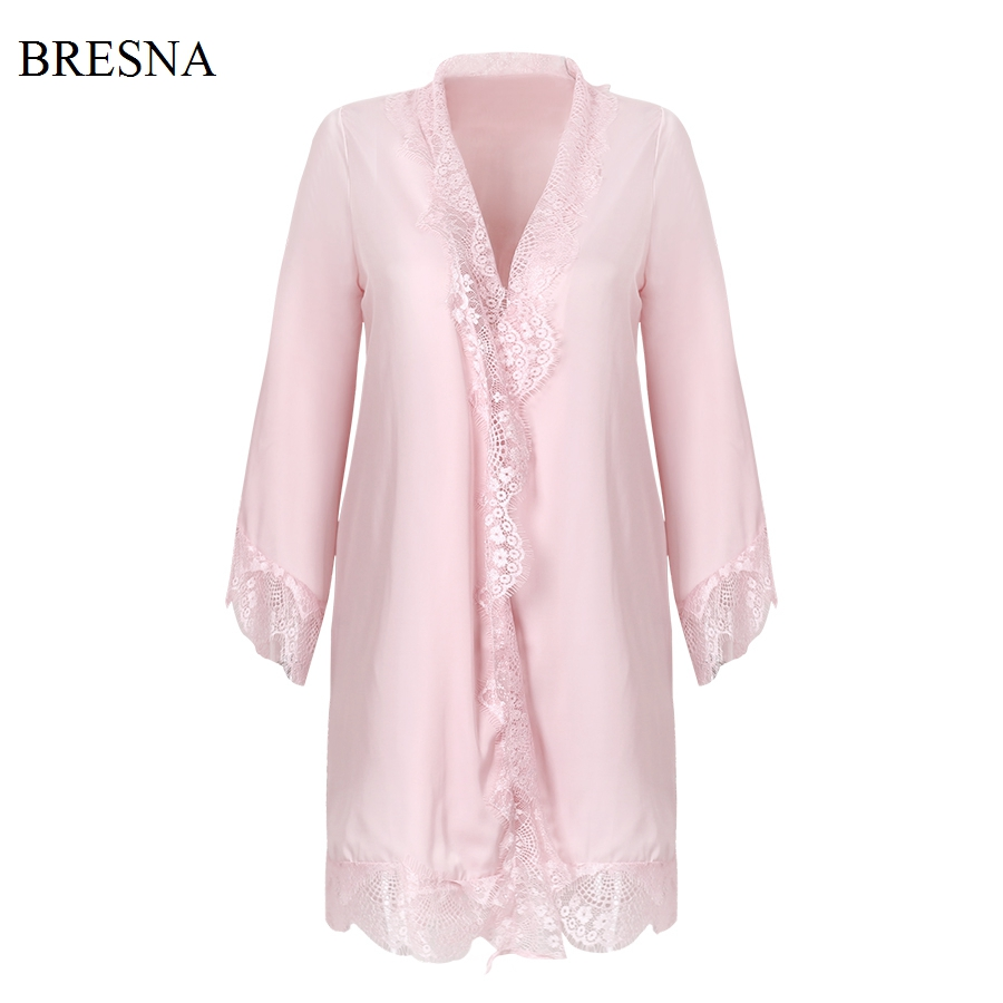 Bresna Sexy Eyelash Lace Robes Women Bathrobe Home Sleep -2816