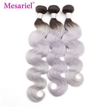 Mesariel Hair 1/3/4 Peruvian Body Wave Bundles Black Roots 1b/Grey Ombre Human Hair Bundles Remy Human Hair Extension(China)