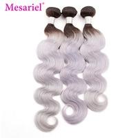 Mesariel Hair 1/3/4 Peruvian Body Wave Bundles Black Roots 1b/Grey Ombre Human Hair Bundles Remy Human Hair Extension