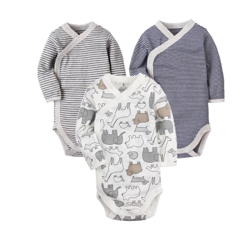 Newborn baby clothing 2018 Side Open Fitting Suit Long Sleeve baby bodysuit infant underwear , 100% cotton pajamas for babies 3pieces lot natural cotton baby bodysuit newborn baby long sleeve underwear 0 1 years infant boy and girl pajamas clothes
