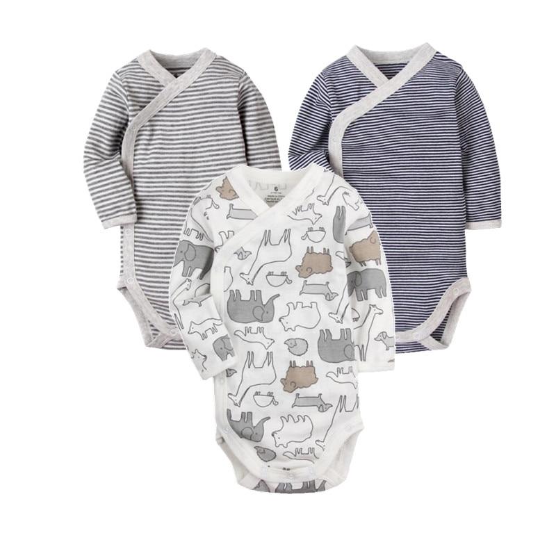 Newborn baby clothing 2018 Side Open Fitting Suit Long Sleeve baby bodysuit infant underwear , 100% cotton pajamas for babies long sleeve open back v neck bodysuit