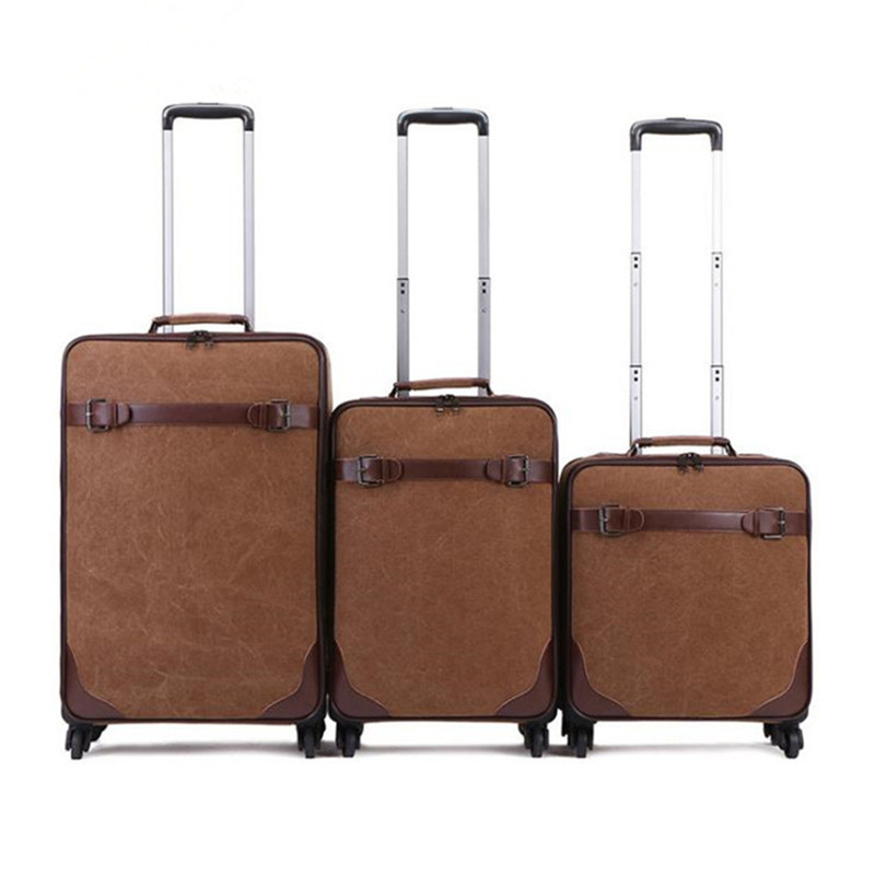 2019 New Retro Simple 16 Inch Canvas Universal Wheel Trolley Case 20 Inch Boarding Password Box Outdoor Durable 24 inch Suitcase|Carry-Ons| |  - title=