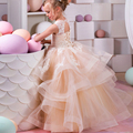champagne floor length beauty corset kids pageant ball gown for girls size 8 12 lace formal party children graduation gown