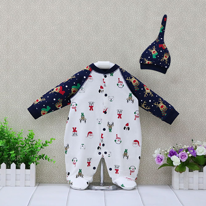 Newborn autumn my first pure cotton christmas rompers + hat 2 pieces/set baby boys clothes my first colors