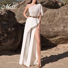 Max Spri 2019 Summer New Fashion One Shoulder Short Sleeve Lace Ruffles Women Elegant Split Loose Long Jumpsuits