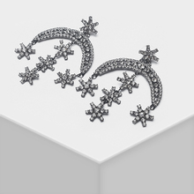 Crescent shape star design fashionable shiny drop earrings